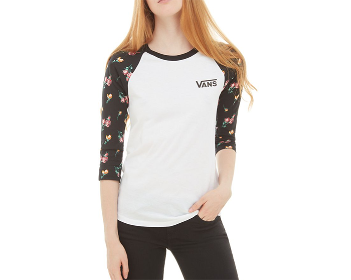 Vans Womens Satin Floral Raglan T-Shirt Black