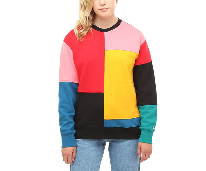 Vans Womens Patchy Crew Sweater Patchwork