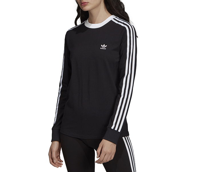 Adidas Originals Womens 3 Stripes LS Tee Black
