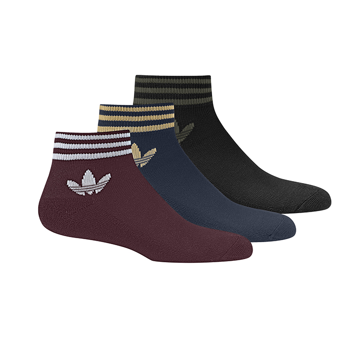 on sale fb002 8f2b9 Adidas Trefoil Ankle Stripe Socks 3-Pack Maroon   Navy   Black