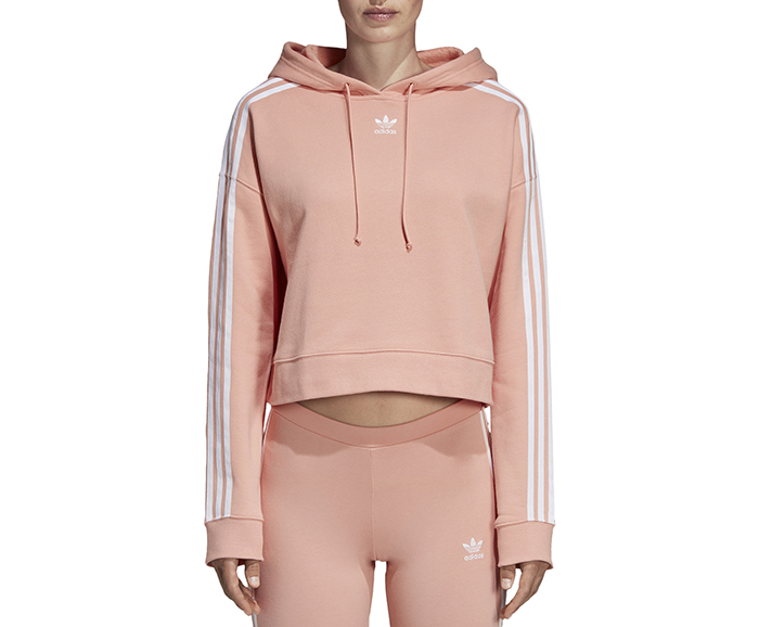 Adidas Womens Cropped Hoodie Dust Pink