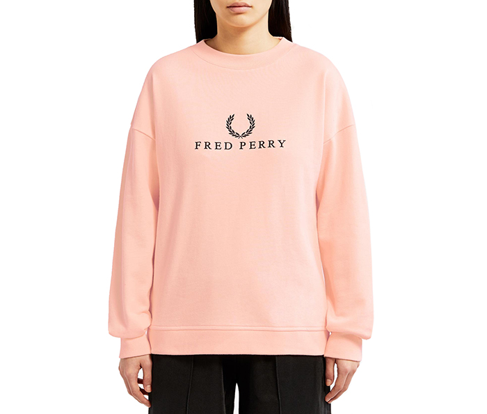 Fred Perry Womens Embroidered Sweatshirt Iced Coral