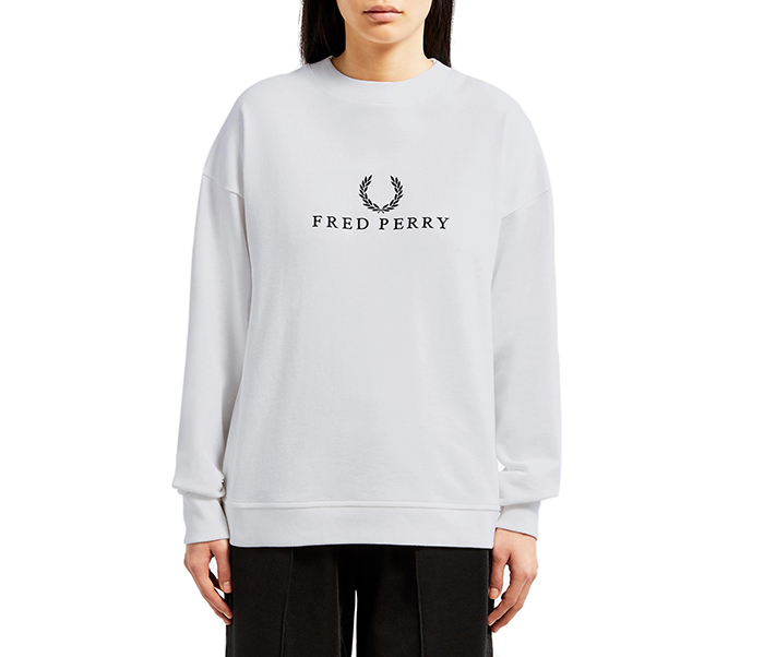 Fred Perry Womens Embroidered Sweatshirt White