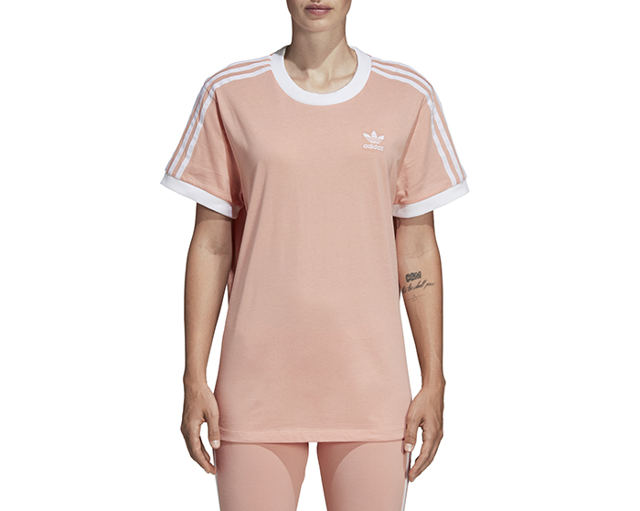 Adidas Womens 3 Stripes Tee Dust Pink