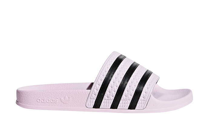 Adidas Womens Adilette Slides Clear Pink / Core Black