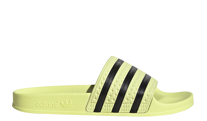 Adidas Womens Adilette Slides Ice Yellow / Core Black