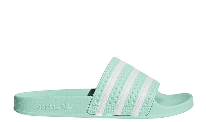 Adidas Womens Adilette Slides Clear Mint / FTWR White