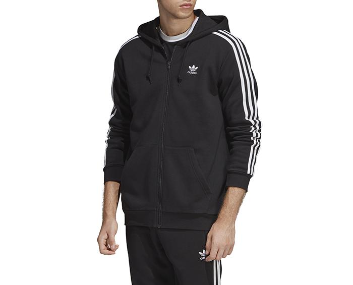 Adidas Originals 3 Stripes Full Zip Hoodie Black Boardvillage