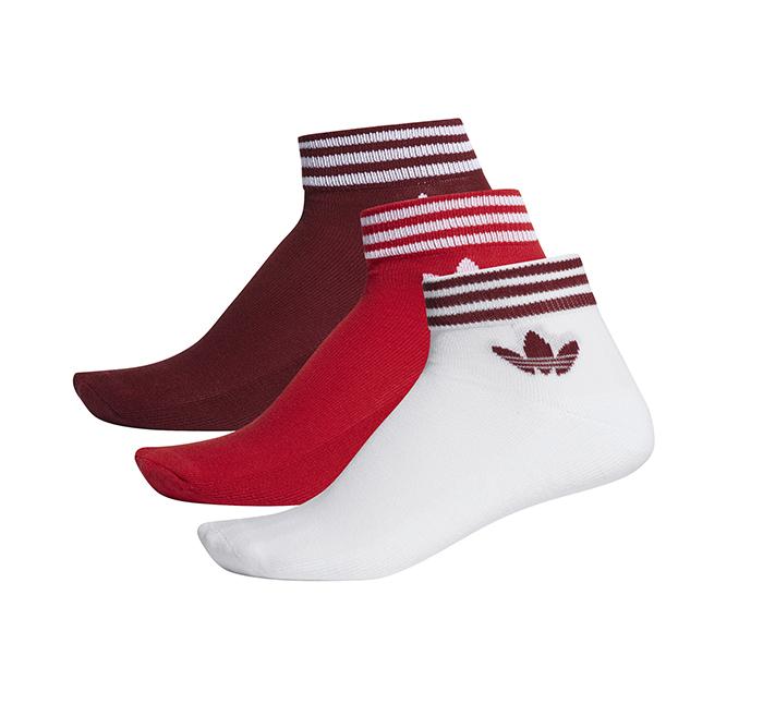 Adidas Trefoil Ankle Stripe Socks HC 3-Pack Burgundy / Scarlet / White