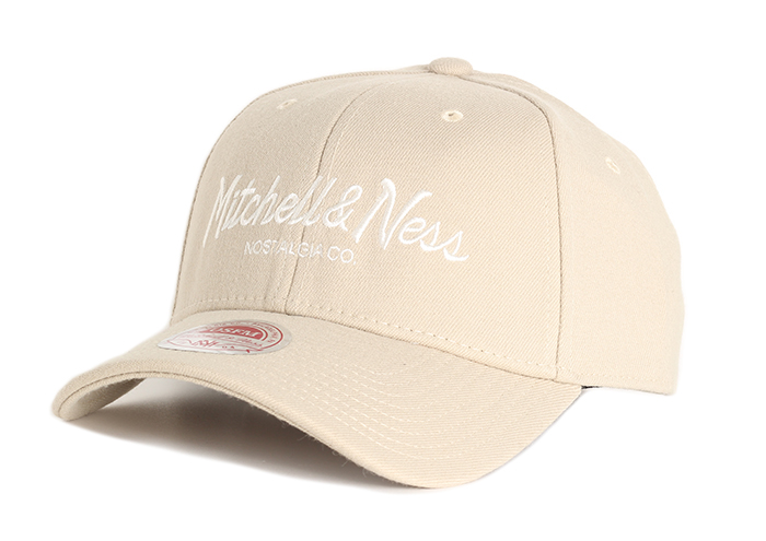 Mitchell & Ness Pinscript Curved Stretchfit Beige