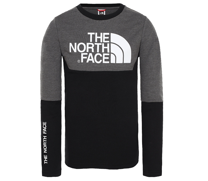 The North Face Youth South Peak LS Tee TNF Black / TNF Medium Grey Heather