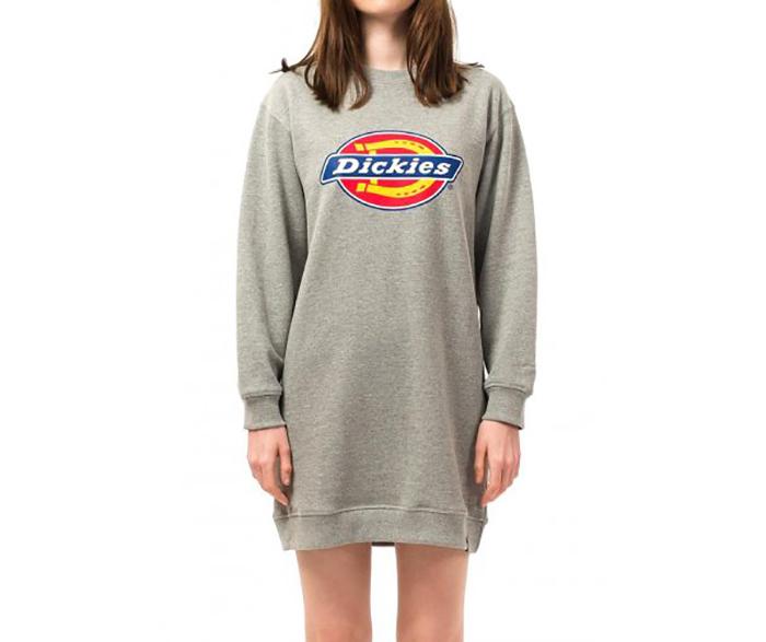 Dickies Womens Benham Sweatshirt Dress Grey Melange