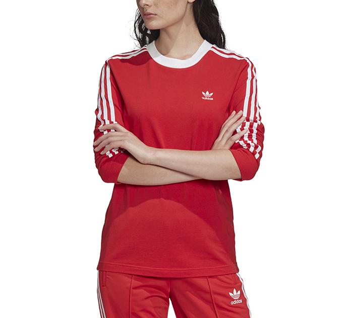 Adidas Originals Womens 3 Stripes LS Tee Lush Red / White