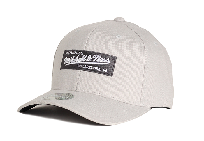 Mitchell & Ness Patch Pinscript 110 Snapback Light Grey