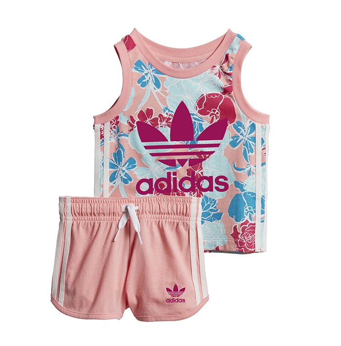 Adidas Kids Tank Top Shorts Set Glow Pink / Multicolor / Bold Pink