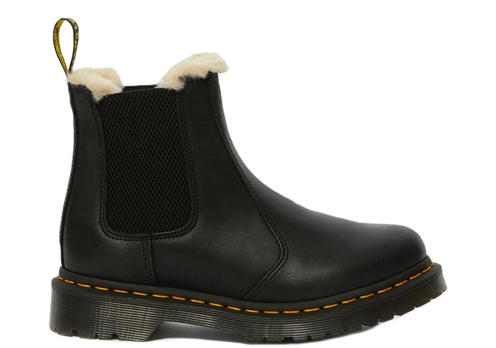Dr. Martens 2976 Leonore Faux Fur Lined Chelsea Boots Black Burnished Wyoming