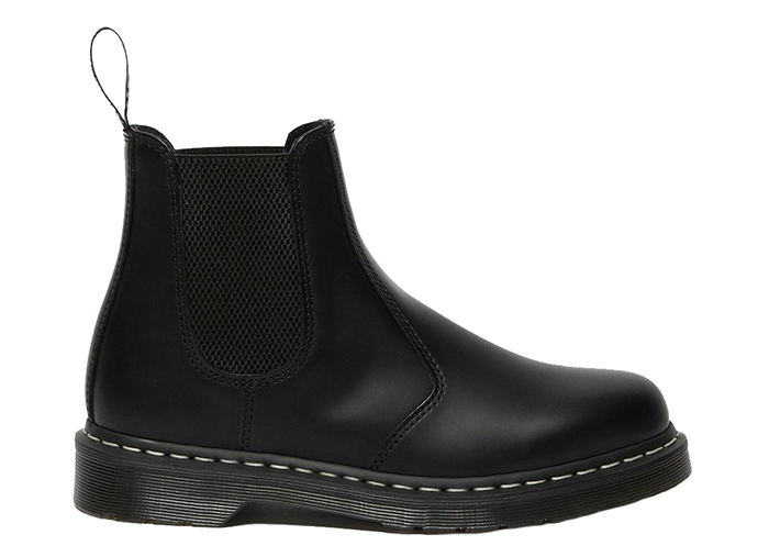 Dr Martens 2976 White Stitch Leather Chelsea Boots Black Smooth