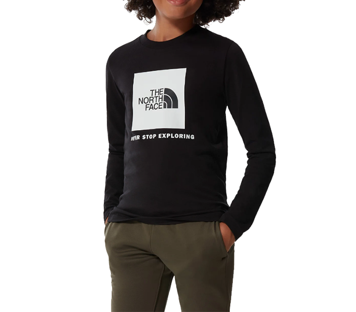 The North Face Youth L/S Box Logo Tee TNF Black / Glow In The Dark