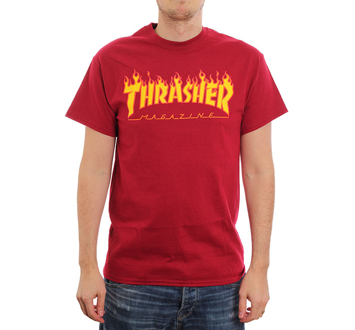 Thrasher Flame Logo Tee Cardinal Red