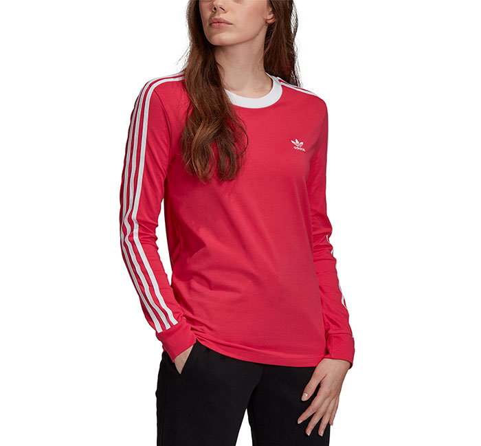 Adidas Originals Womens 3 Stripes LS Tee Power Pink / White