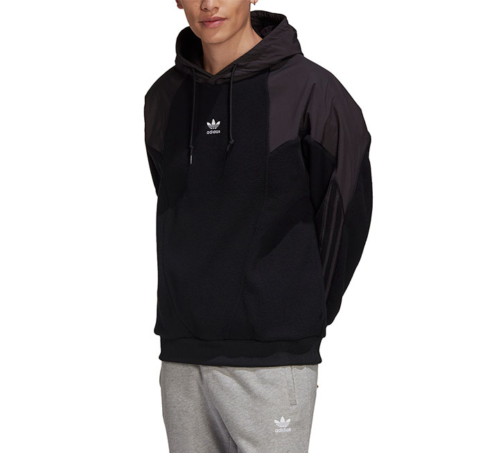 Adidas Originals Big Trefoil Polar Fleece Mix Hoodie Black