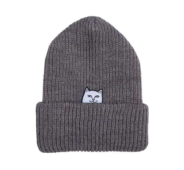 RIPNDIP Lord Nermal Ribbed Beanie Heather Grey