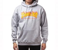 Thrasher Flame Logo Hoodie Grey Heather