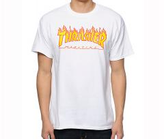 Thrasher Flame Logo Tee White