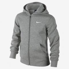 Nike Youth Fleece Zip Hoodie Dark Grey Heather / White