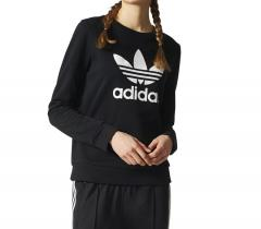 Adidas Womens Trefoil Crew Sweatshirt Black