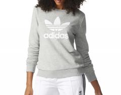 Adidas Womens Trefoil Crew Sweatshirt Medium Grey Heather