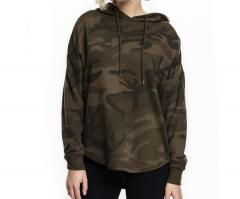 Urban Classics Womens Oversized Camo Hoodie Olive