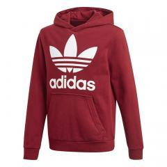 Adidas Junior Trefoil Hoodie Burgundy / White