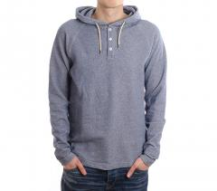 Makia Henley Hooded Sweatshirt Blue