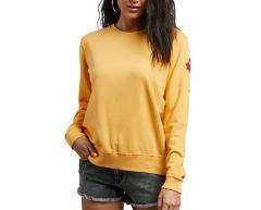 Volcom Womens Sound Check Fleece Sweatshirt Citrus Gold