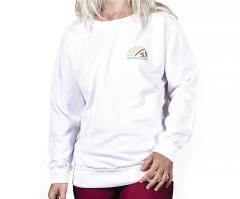 Asenne Womens Boyfriend Retro Sweatshirt White