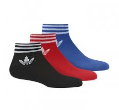 Adidas Trefoil Ankle Stripe Socks 3-Pack Black / Red / Blue