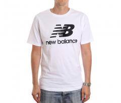 New Balance Essentials Stacked Logo Tee White