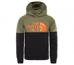 The North Face Youth Drew Peak Raglan Hoodie New Taupe Green