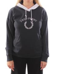 Fred Perry Womens Embroidered Hooded Sweatshirt Anchor Grey