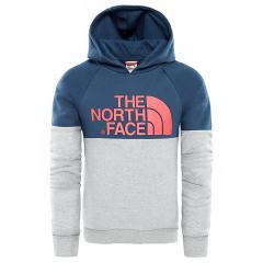 The North Face Youth Drew Peak Raglan Hoodie Blue Wing / Teal