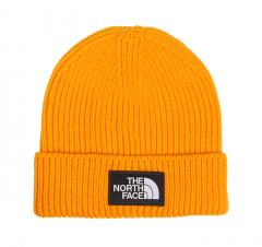 The North Face Logo Box Cuffed Beanie Zinnia Orange / Grey