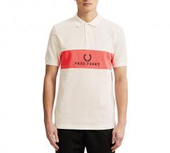 Fred Perry Panel Piped Polo Shirt Snow White
