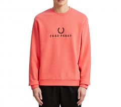 Fred Perry Embroidered Sweatshirt Coral Pink