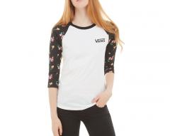 Vans Womens Satin Floral Raglan T-Shirt Black