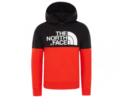The North Face Youth Drew Peak Raglan Hoodie Fiery Red / TNF Black