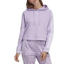 Adidas Womens Cropped Hoodie Purple Glow