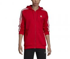 Adidas Originals 3 Stripes Full Zip Hoodie Scarlet