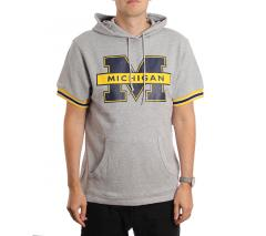 Mitchell & Ness Team Logo Short Sleeve Hoodie Michigan Grey