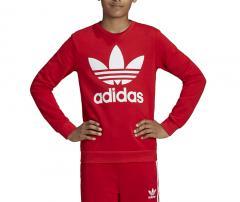 Adidas Junior Trefoil Crew Sweatshirt Scarlet / White